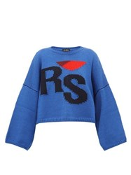 Raf Simons Cropped Wool Sweater Blue Multi