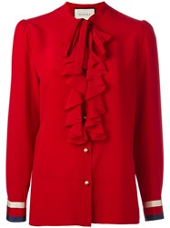 Gucci Sylvia Web Georgette Blouse Red