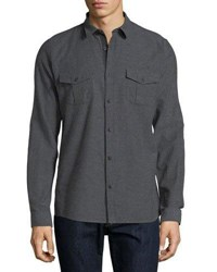 Civil Society Woven Button Front Shirt Charcoal