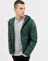 Celio Lightweight Hooded Quilted Jacket In Green