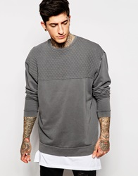 Asos Oversized Sweatshirt With Quilted Panel And Pigment Wash Grey