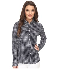 Dockers Petite The Tailored Stretch Shirt Allie Floral Sea Captain Blue Women's Long Sleeve Button Up Gray