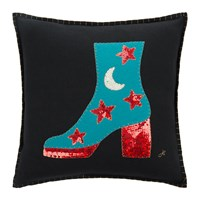 Jan Constantine Glam Rock Sequin Boot Cushion Black