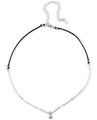 Unwritten Cubic Zirconia Pendant Choker Necklace In Silver Plate