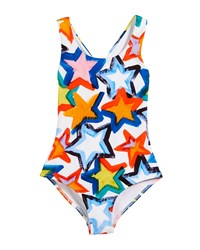 Milly Minis Stars Cross Back One Piece Swimsuit Size 4 7 Multi