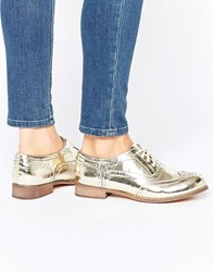 London Rebel Barnaby Lace Up Shoes Gold Pu
