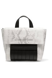 Mcq By Alexander Mcqueen Paneled Snake Print Leather Shoulder Bag Off White