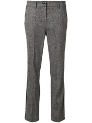 Luisa Cerano Tweed Flared Trousers Elastodiene Polyester Wool Brown