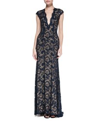 Jovani Plunge Neck Beaded Lace Gown Midnight Navy