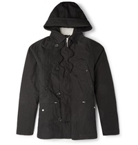 Several Faux Shearling Lined Cotton Canvas Parka Black