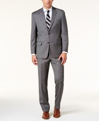 Michael Kors Men's Classic Fit Silver Gray Birdseye Suit Silver Gray
