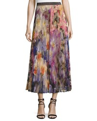 Christopher Kane Pleated Pansy Print Lace Maxi Skirt Multicolor Multi Colored