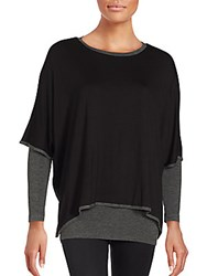 Saks Fifth Avenue Layered Boat Neck Poncho Black Charcoal