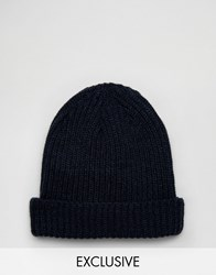 Reclaimed Vintage Mini Fisherman Beanie In Navy Navy