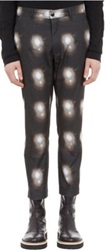 Ann Demeulemeester Rigatino Lights' Print Cropped Trousers Black