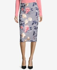 Eci Embroidered Pencil Skirt Grey Pink