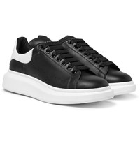 Alexander Mcqueen Exaggerated Sole Leather Sneakers Black