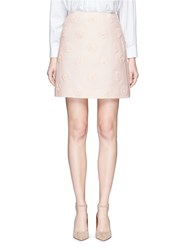 Valentino Daisy Applique Crepe Couture Skirt Pink