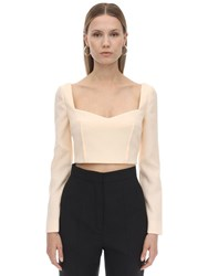 Emilia Wickstead Cropped Double Crepe Top Ivory
