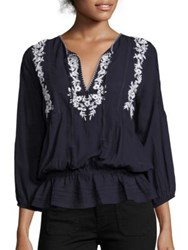 Joie Virani Cotton Crinkle Blouse Dark Navy Porcelain
