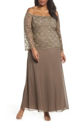 f7ae3977635 Pisarro Nights Plus Size Women s Embellished Off The Shoulder Gown Mocha
