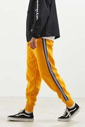Urban Outfitters Uo Terry Fleece Side Stripe Jogger Pant Yellow