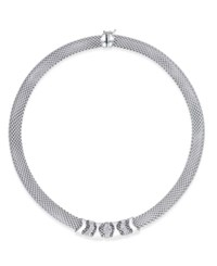 Macy's Diamond Mesh Collar Necklace 1 3 Ct. T.W. In Sterling Silver