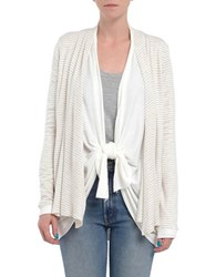 Three Dots Striped Oversized Cardigan Natural White