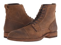 Frye Everett Lace Up Tan Waxed Suede Men's Lace Up Boots