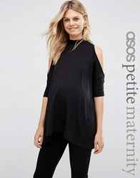 Asos Maternity Petite Top With Cold Shoulder And High Neck Black
