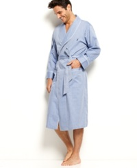 Nautica Anchor Woven Shawl Collar Robe Herringbone