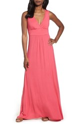 Loveappella V Neck Jersey Maxi Dress Pink Polish