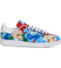 Adidas Power Red Floral Stan Smith Canvas Trainers