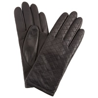 John Lewis Quilted Leather Gloves Black