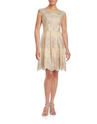 Kay Unger Embroidered Lace Illusion Dress Mocha