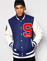 Supreme Being Supremebeing Varsity Jacket Navy