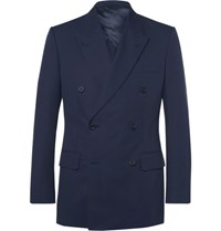 Kingsman Blue Harry Double Breasted Cotton Twill Suit Jacket Navy