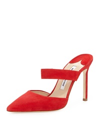 Manolo Blahnik Trovina Suede Point Toe Mule Red