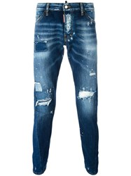 Dsquared2 Sexy Twist Distressed Bleach Jeans Blue