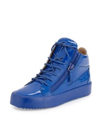 Giuseppe Zanotti Men's Patent Leather Mid Top Sneaker Blue