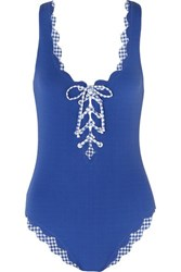 Marysia Palm Springs Scalloped Lace Up Stretch Crepe Swimsuit Blue