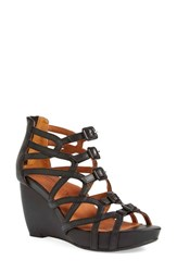 Women's L'amour Des Pieds'ivanna' Gladiator Wedge Sandal Black Leather