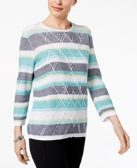 Alfred Dunner Montego Bay Textured Studded Sweater Multi