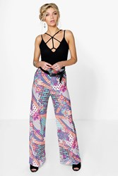 Boohoo Bright Multi Print Wide Leg Trousers Multi