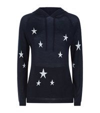 Chinti And Parker Star Cashmere Hoodie Navy
