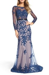 Mac Duggal Women's Open Back Embroidered Tulle Gown Sapphire