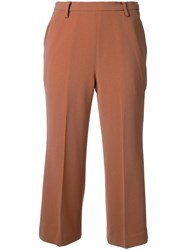 Cityshop Cropped Tailored Flare Trousers Brown