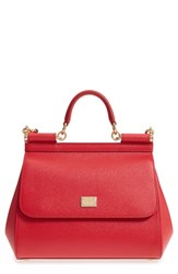 Dolce And Gabbana 'Small Miss Sicily' Leather Satchel Red