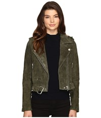 Blank Nyc Real Suede Moto Jacket In Olive Juice Olive Juice Women's Coat