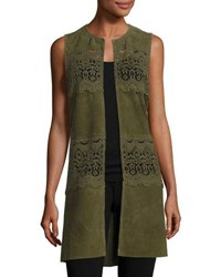 Neiman Marcus Long Suede And Lace Topper Vest Olive